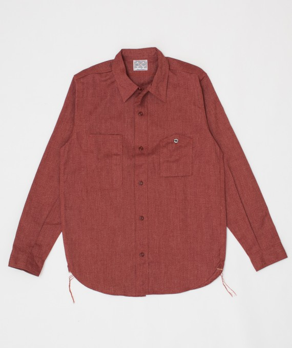 8HU Twist Chambray Work Shirt Red