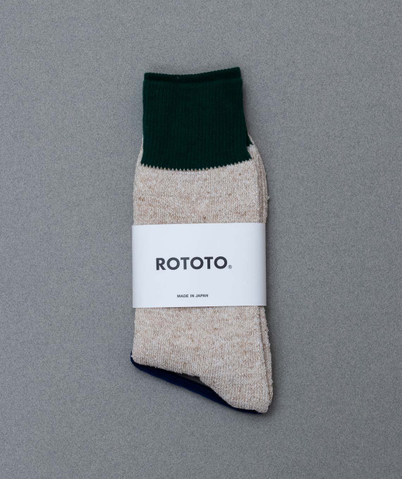 Double Face Silk Socks Green/Beige ROTOTO