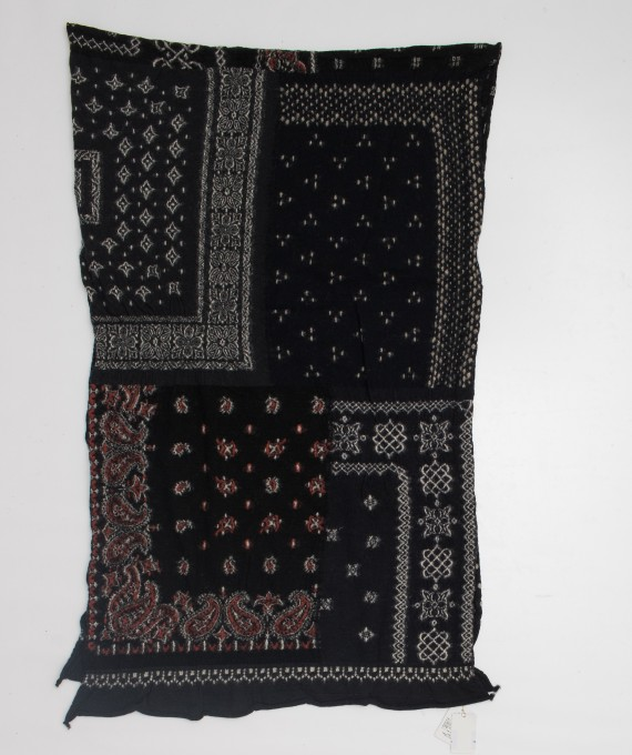 Wool Scarf Patchwork Bandana Black